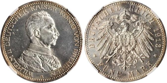 Серебряная монета 5 марок Германии и Австрии 1914 года