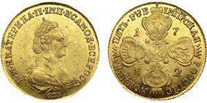 Золотая монета 5 рублей Екатерины II