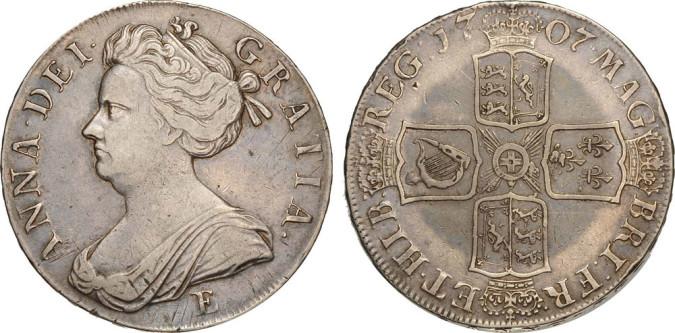Серебряная крона Анны 1707 года