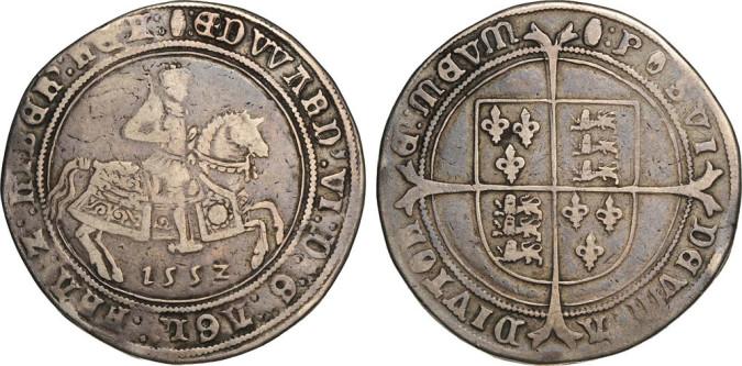 Серебряная крона Эдуарда VI 1552 года