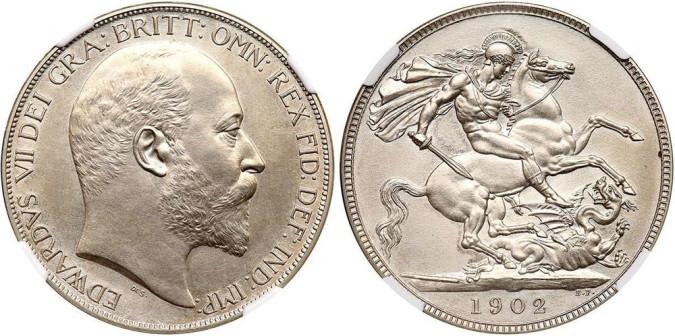 Серебряная крона Эдуарда VII 1902 года