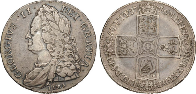 Серебряная крона Георга II 1746 года