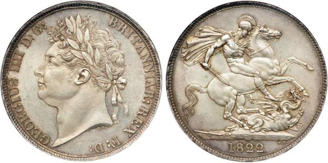 Серебряная крона Георга IV 1822 года