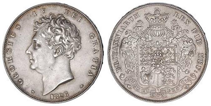 Серебряная крона Георга IV 1826 года