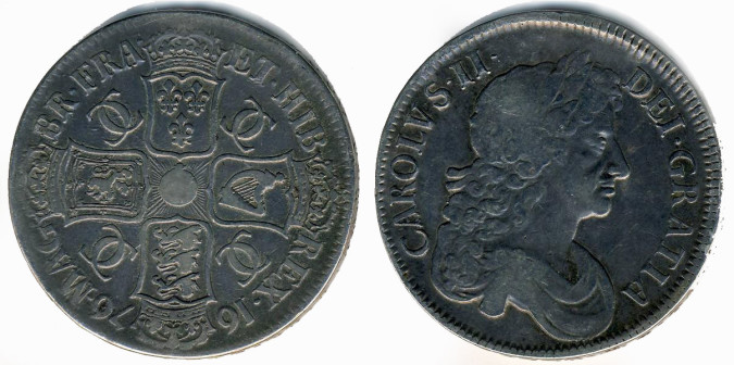Серебряная крона Карла II 1676 года