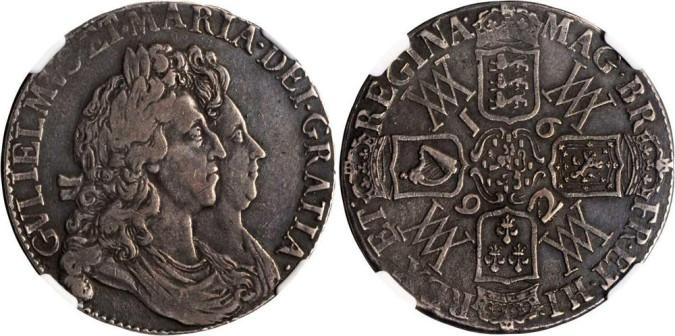 Серебряная крона Марии и Вильгельма 1692 года
