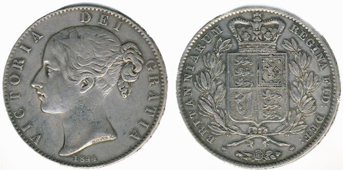 Серебряная крона Блистательной Виктории 1844 года