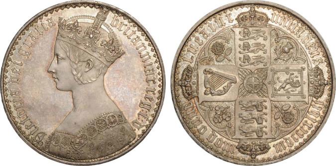 Серебряная кроны Блистательной Виктории 1847 года