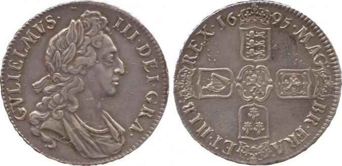 Серебряная крона Вильгельма III 1695 года