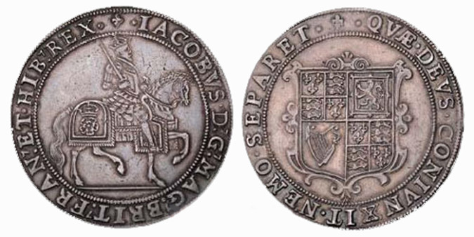 Серебряная крона Якова I 1604 года
