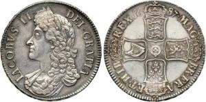 Серебряная крона Якова II 1678 года