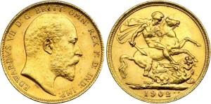 Золотой соверен Эдуарда VI 1902 года