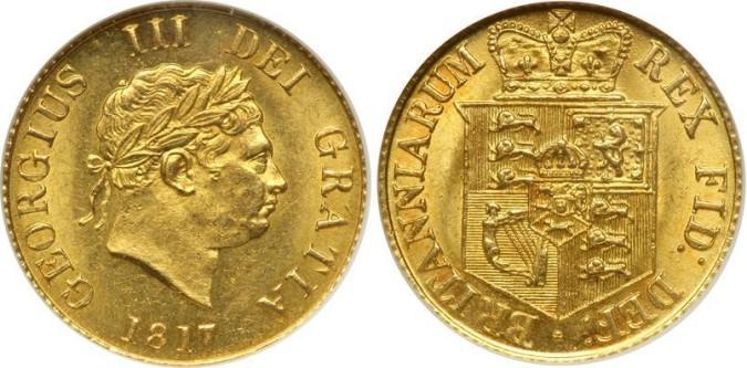 Золотой соверен Георга III 1817 года