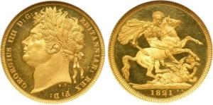 Золотой соверен Георга IV 1821 года