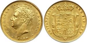 Золотой соверен Георга IV 1850 года
