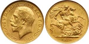 Золотой соверен Георга V 1918 года
