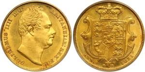 Золотой соверен Вильгельма IV 1851 года