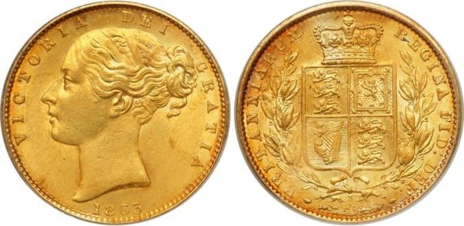 Золотой соверен королевы Виктории 1853 года