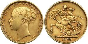 Золотой соверен королевы Виктории 1872 года