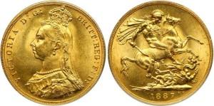 Золотой соверен королевы Виктории 1887 года