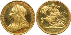 Золотой соверен королевы Виктории 1893 года