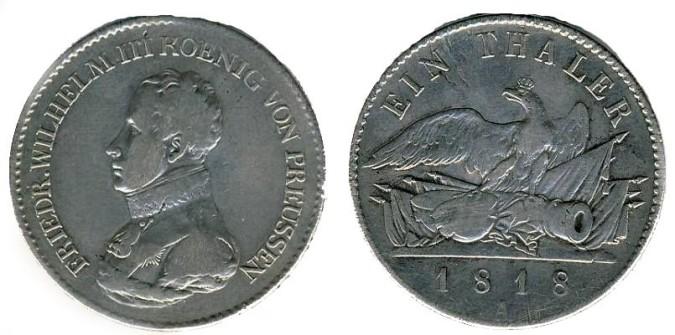 Серебряный талер при Фридрихе-Вильгельме III 1818 года
