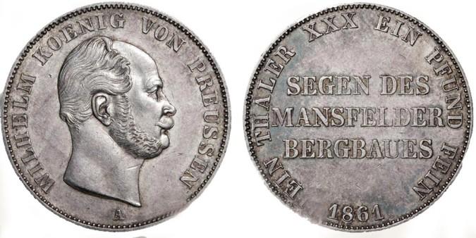 Серебряный талер при Вильгельме I 1861 года