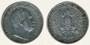 Серебряный талер при Вильгельме I 1867 года