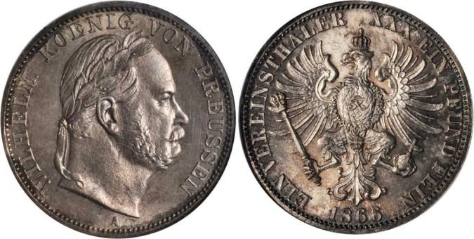 Серебряный талер при Вильгельме I 1868 года