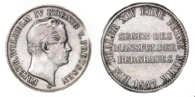 Серебряный талер при Фридрихе-Вильгельме IV 1847 года