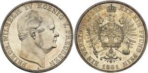 Серебряный талер при Фридрихе-Вильгельме IV 1861 года
