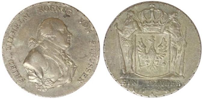 Серебряный талер при Фридрихе-Вильгельме II 1794 года