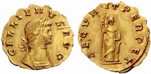 Золотая монета Рима Квинарий