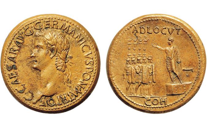 Золотая монета Рима Сестерций