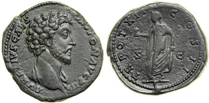 Серебряная монета Рима Сестерций