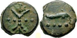 Бронзовая монета Рима Триенс