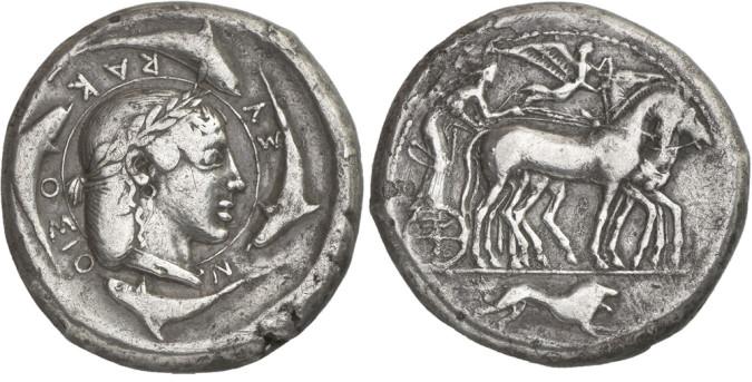 Золотая и серебряная монета Греции декадрахма