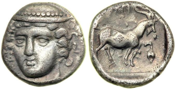 Серебряная монета диобол