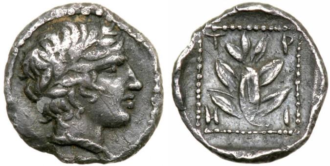 Серебряная монета Греции гемиобол