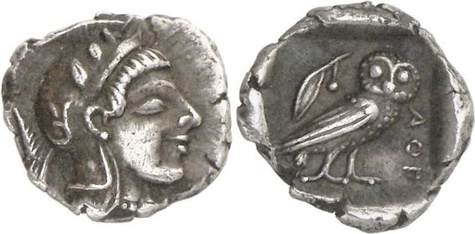 Серебряная и медная монета обол