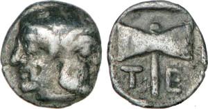 Серебряная и медная монета Греции тритеморий