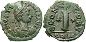 Бронзовая монета Византии декануммий
