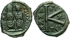 Бронзовая монета Византии полфоллиса