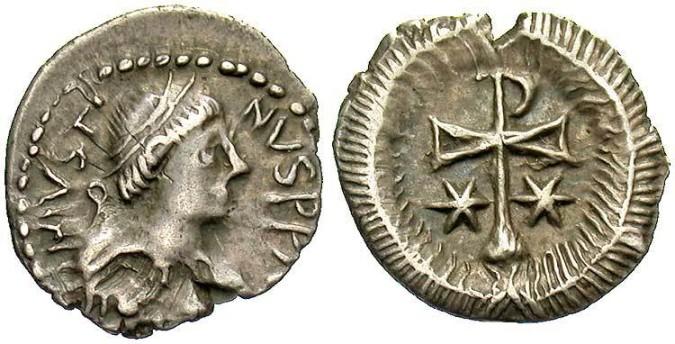 Серебряная монета Византии полсиликвы